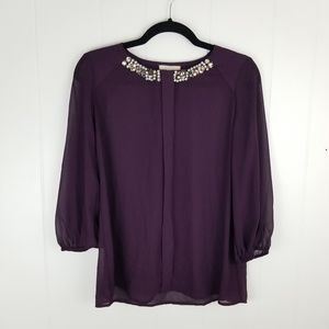 Pleione Plum Jeweled Sheer Blouse 3/4 Sleeve Top